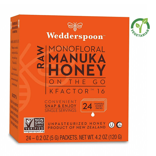 Wedderspoon Raw Manuka Honey KFactor 16, Unpasteurized, 24 Sachets/Pack