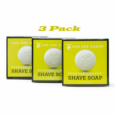 Van Der Hagen Scented Shave Soap, 3.5 Ounce, Pack of 3
