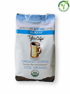 Tyler's Coffee Acid Free Regular Organic Coffee, 12 Ounce