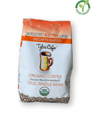 Tyler's Organic Whole Bean Coffee Beans 100% Arabica Full Flavor Decaf, 12 Ounce