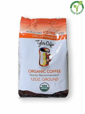 Tyler's Coffee Acid Free Organic Ground, 100% Arabica Full Flavor Decaf, 12 Ounce