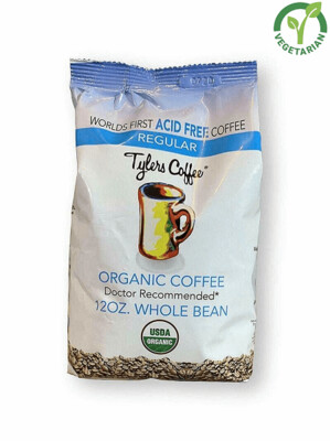 Tyler's Coffee Acid Free Regular Organic Whole Beans Coffee, 12 Ounce