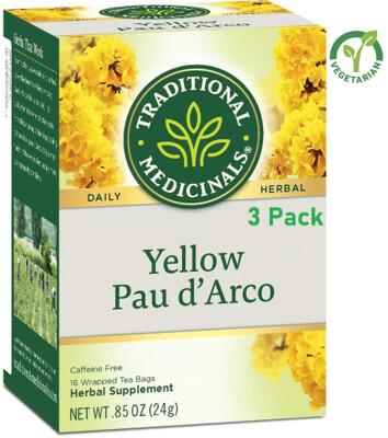 Traditional Medicinals Yellow Pau d'Arco Herbal Tea, 16 Tea Bags/Box, Pack of 3