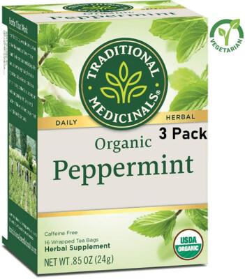 Traditional Medicinals Organic Peppermint Herbal Tea, 16 Tea Bags/Box, Pack of 3