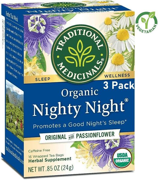 Traditional Medicinals Organic Nighty Night Tea, Caffeine Free, 16 Tea Bags/Box, Pack of 3