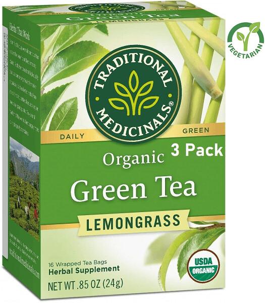 Traditional Medicinals Organic Green Tea Lemongrass Tea, 16 Tea Bags/Box, Pack of 3