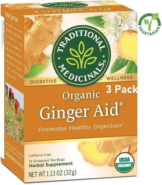 Traditional Medicinals Organic Ginger Aid Digestive Tea, 16 Tea Bags/Box, Pack of 3