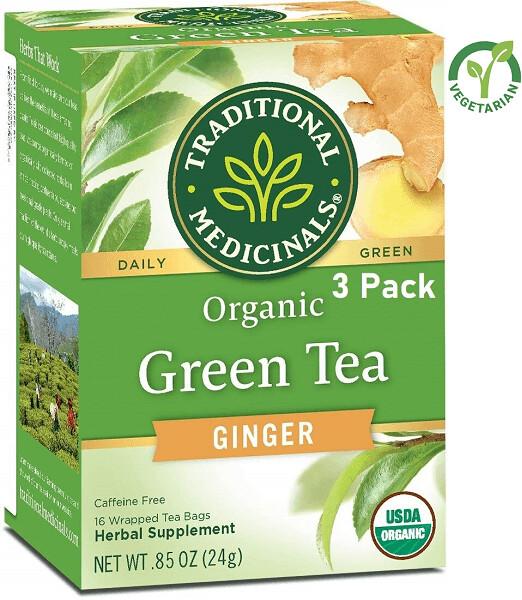 Traditional Medicinals Organic Green Tea Ginger Tea, 16 Tea Bags/Box, Pack of 3