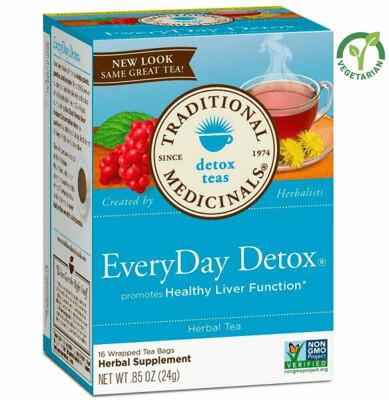 Traditional Medicinals Organic Every Day Detox Tea, 16 Tea Bags/Box, Pack of 3
