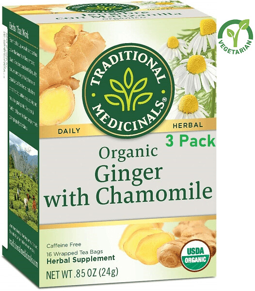 Traditional Medicinals Organic Ginger with Chamomile Herbal Tea, 16 Tea Bags/Box, Pack of 3