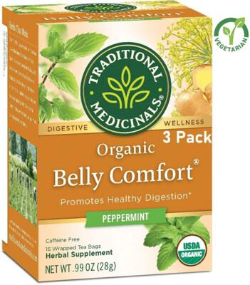 Traditional Medicinals Organic Belly Comfort Digestive Tea, Peppermint, 16 Tea Bags/Box, Pack of 3