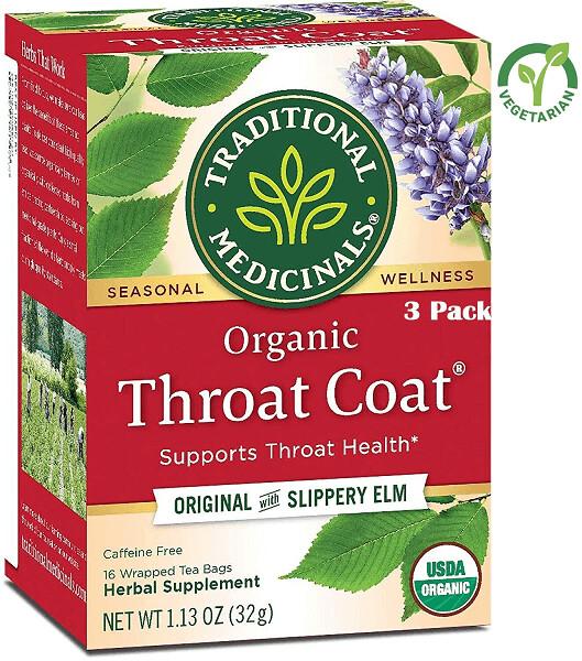 Traditional Medicinals Herbal Tea, Organic, Throat Coat, 16 Tea Bags/Box, Pack of 3
