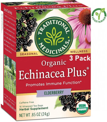 Traditional Medicinals Organic Echinacea Plus Elderberry Seasonal Tea, 16 Tea Bags/Box, Pack of 3