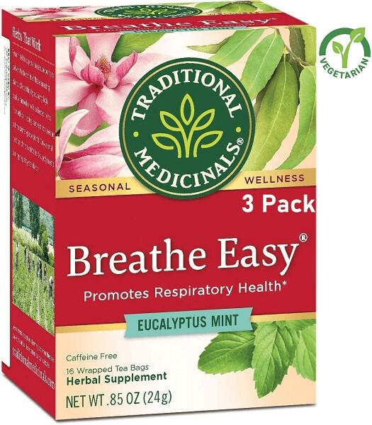 Traditional Medicinals Breathe Easy Tea, 16 Tea Bags/Box, Pack of 3