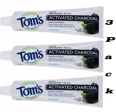 Toms of Maine Activated Charcoal Anticavity Toothpaste, Peppermint, 4.7 Ounce, Pack of 3