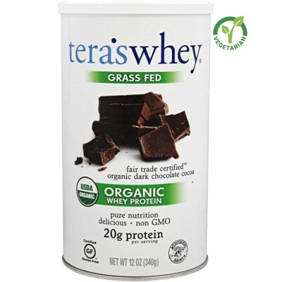 Tera's Whey Organic Protein, Dark Chocolate, 12 Ounce