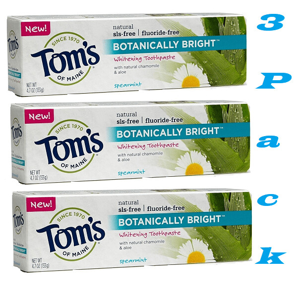Toms of Maine Fluoride Free Botanically Bright Whitening Toothpaste, Spearmint, 4.7 Ounce, Pack of 3