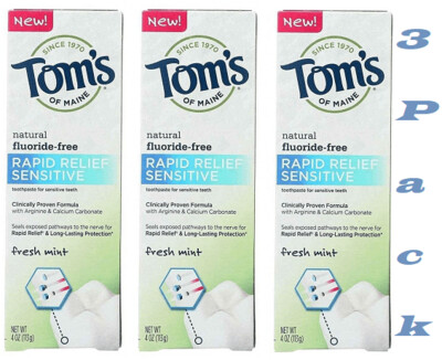 Toms of Maine Rapid Relief Sensitive Toothpaste, 4 Ounce, Pack of 3