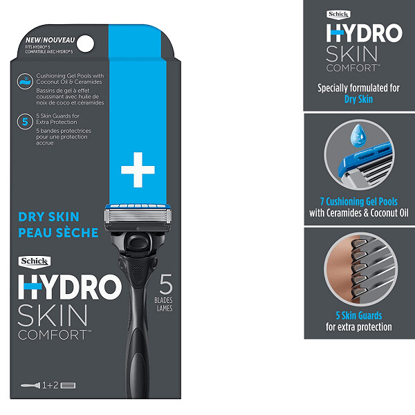 Schick Hydro 5 Sense Hydrate Razor for Men, 1 Handle with 2 Refills / Pack
