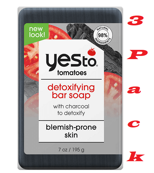 Yes To Tomatoes Detoxifying Bar Soap with Charcoal, 7 Ounce, Pack of 3