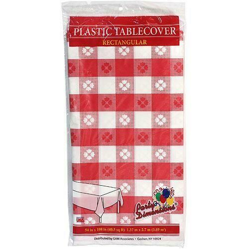 Plastic Tablecloth Rectangular Gingham