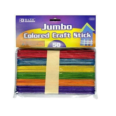 Jumbo Colored Craft Stick 50 count