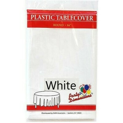 """Plastic Tablecloth Round 84"""" (Assorted Colors)"""