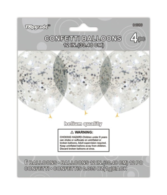 Silver Confetti Latex Balloon