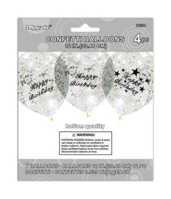 Happy Birthday Silver Confetti Latex Balloon
