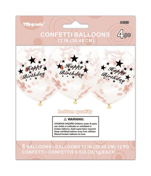Happy Birthday Rose Gold Confetti Latex Balloon