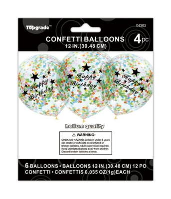 Happy Birthday Multicolored Confetti Latex Balloon