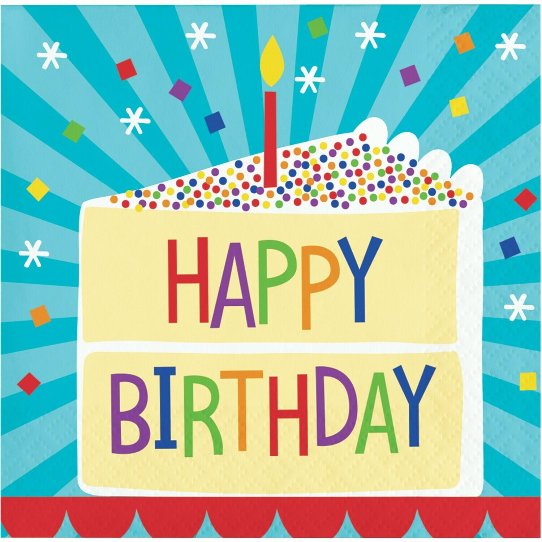 Beverage Paper Napkin: Birthday Cake