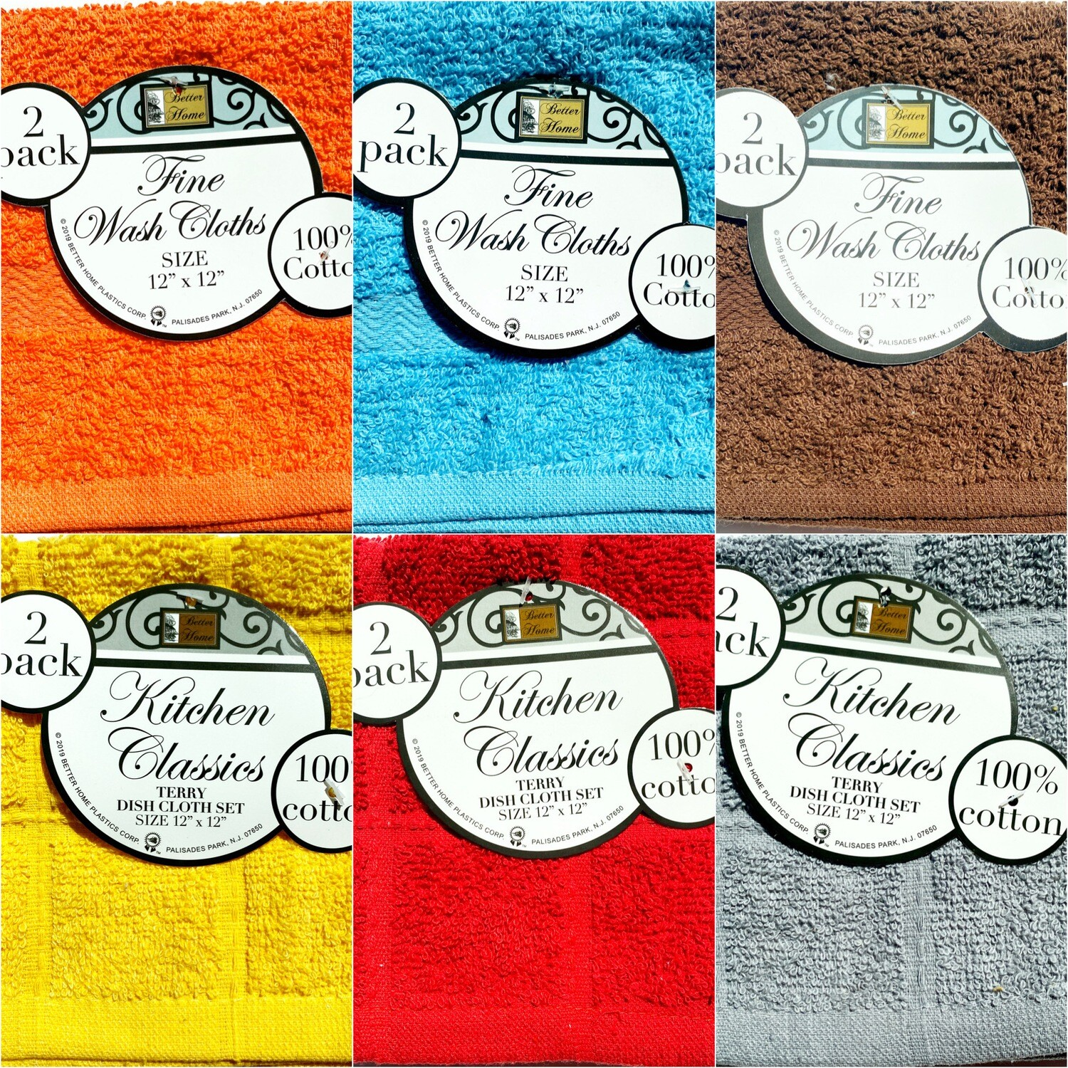 Deluxe Wash Cloth Set: Solid Colors 2 pack