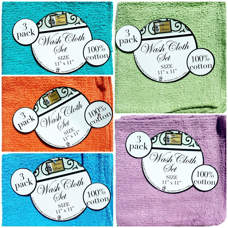 Wash Cloth Set: Solid Colors 3 pack