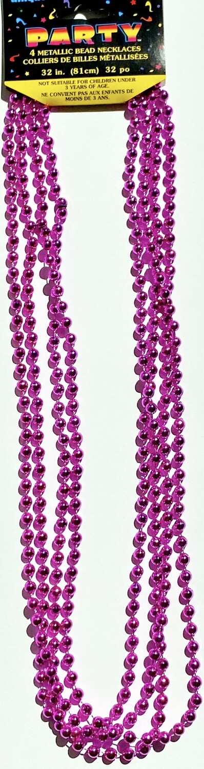 Hot Pink Bead Necklaces