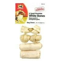 4 Pack Small White Rawhide Bones