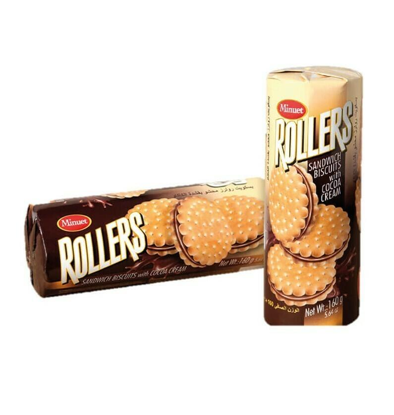 Minuet Rollers Chocolate Cream Sandwich Biscuits