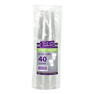40-10oz. Cups - Clear Plastic