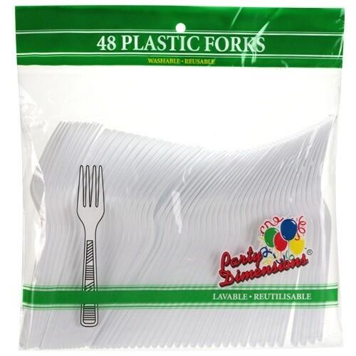 48 Plastic Forks - White