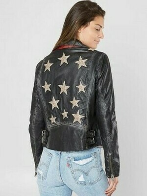 Mauritius Christy Leather Jacket  Black Stars with Red details