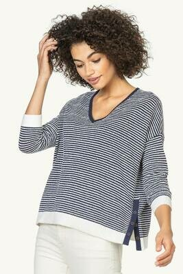 Lilla P 3/4 V-Neck Sweater Navy/White Stripe