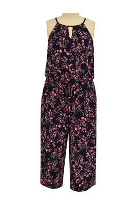 London Times Cropped Jumpsuit Navy/Pink Floral