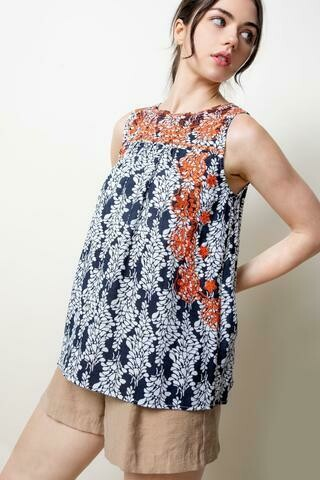 THML Embroidered Tank Navy/Orange
