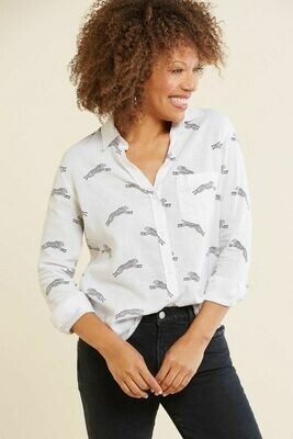 Rails Charli Cheetah Button Down White