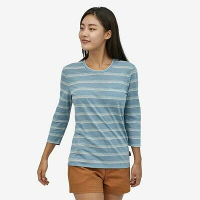 Patagonia W's Mainstay 3/4 Sleeve Shirt Pacific Stripe/Berlin Blue