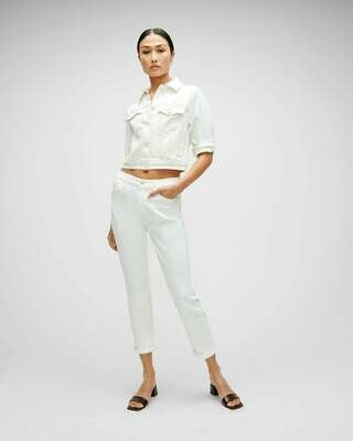 7 For All Mankind Josefina Boyfriend Skinny Broken Twill White