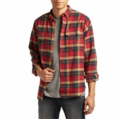 Fjall Raven Singi Heavy Flannel Long Sleeve Button Down Deep Red