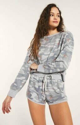Z Supply Elle Rose Camo Long Sleeve Pullover Heather Grey