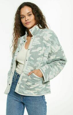 Z Supply Maya Camo Quilted Jacket Dusty Sage Camo