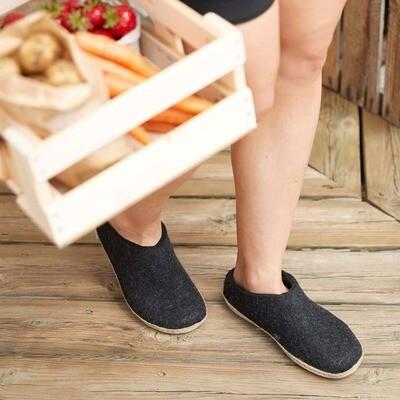Glerup's M's and W's Unisex Open Heel Felt Slipper Charcoal